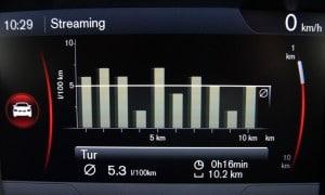 Forbrugsstatistik med almindelig køreteknik. Forbruget er 18,9 km/l.